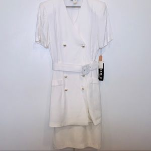 STUDIO I Belted white button down dress